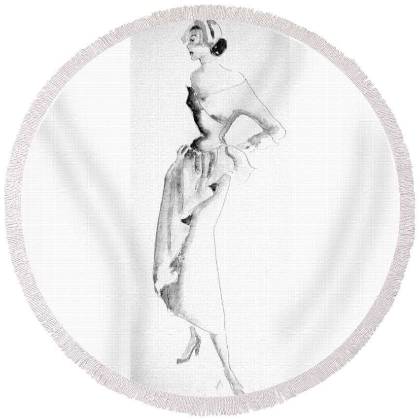 Fashion Round Beach Towel featuring the painting Tea Time by Beverly Solomon Design