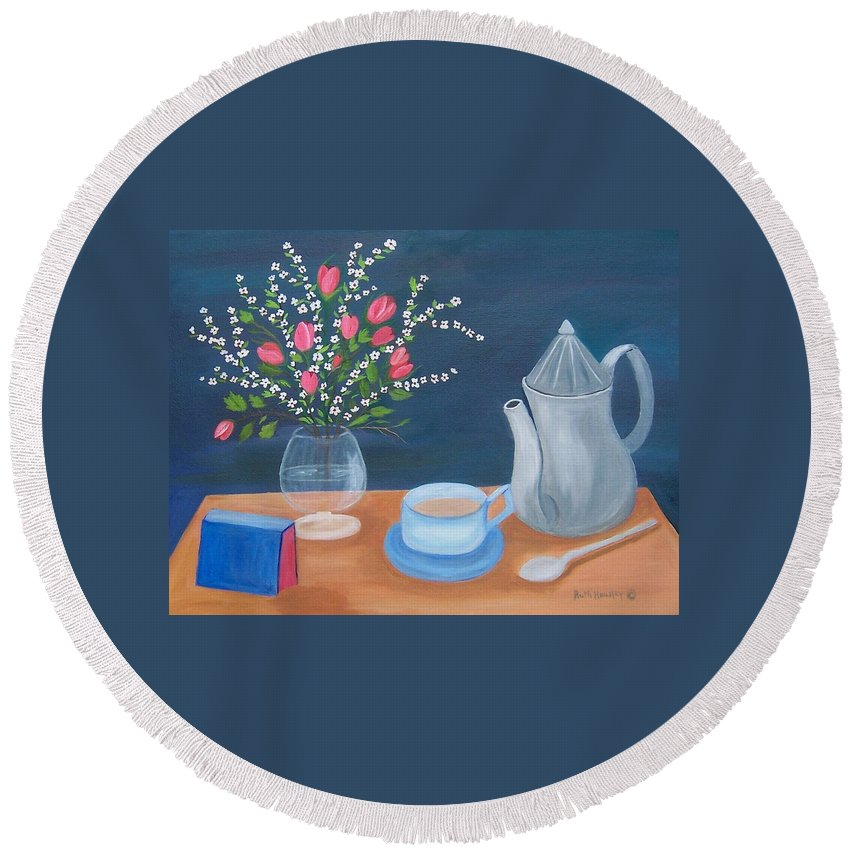 Still Life Round Beach Towel featuring the painting Tea Time by Ruth Housley