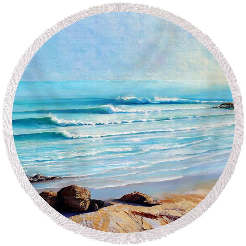Surf Beach Round Beach Towel featuring the painting Tea Tree Bay Noosa Heads Australia by Chris Hobel