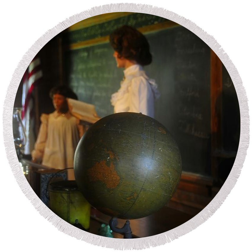 1800s Round Beach Towel featuring the photograph Teaching Globe by David Lee Thompson