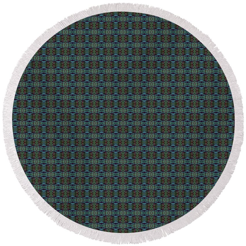 Round Beach Towel featuring the painting Teal Diamond Crackle From Sunset Strip by Sue Duda