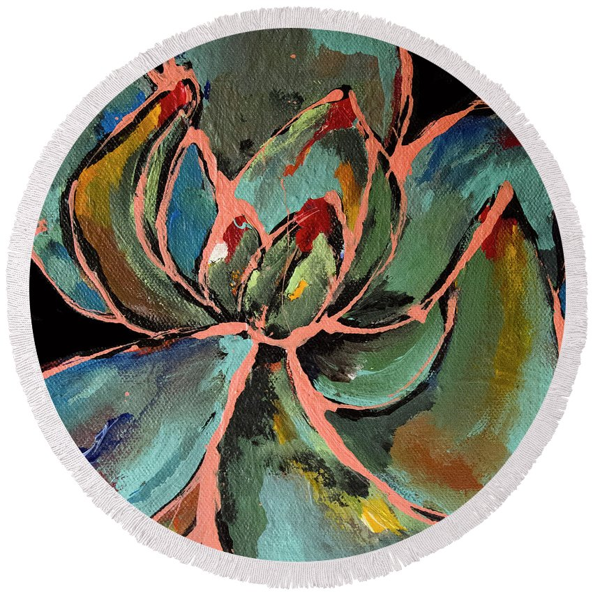 Succulent Round Beach Towel featuring the painting Teal Pink Succulent by Maggie Turner