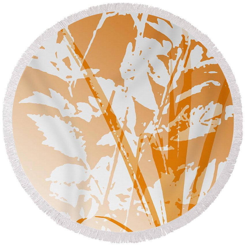 Abstract Round Beach Towel featuring the digital art Team Orange by Ruth Palmer