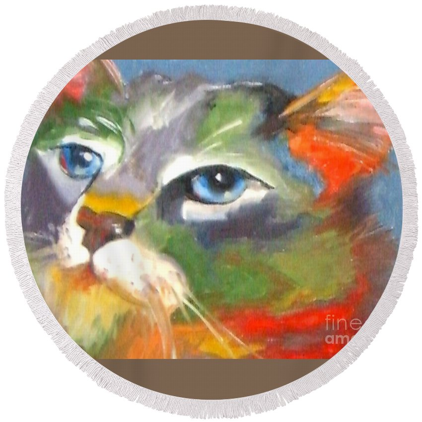 Cat Round Beach Towel featuring the painting Technicolor Tabby by Susan A Becker