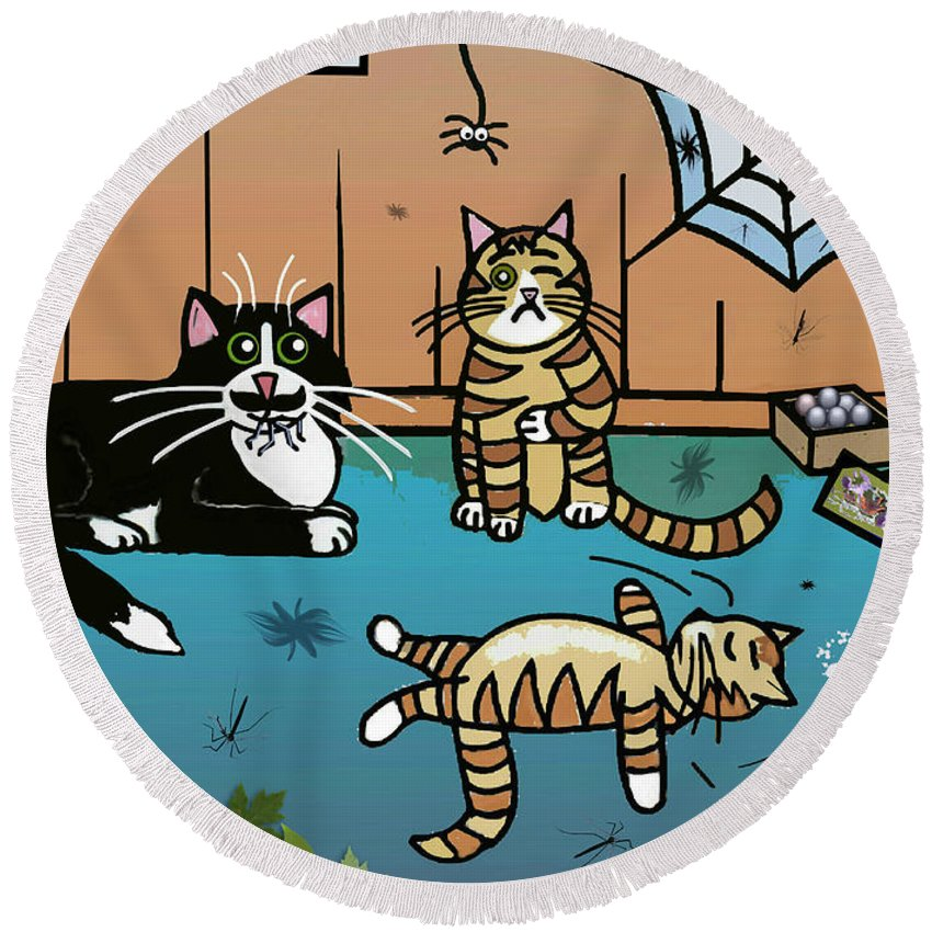Cat Round Beach Towel featuring the painting Cats Having Fun Playing With Spiders by Frances Gillotti