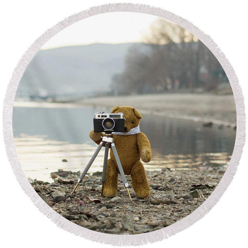 Analog Round Beach Towel featuring the photograph Teddy Bear Taking Pictures With An Old Camera By The Riverside by Andrea Varga
