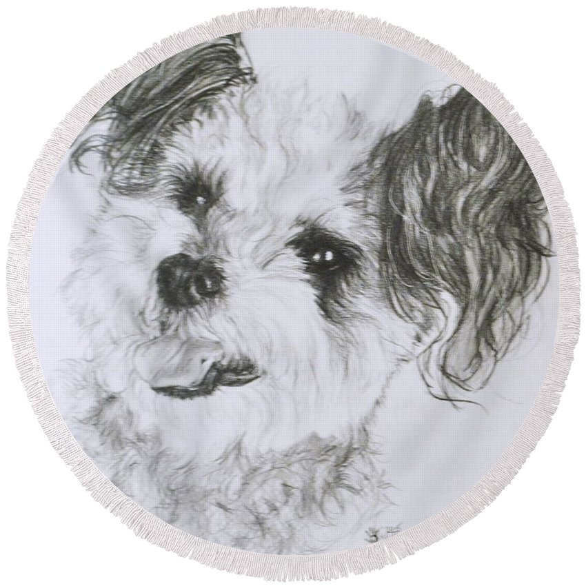 Designer Dog Round Beach Towel featuring the drawing Teddy Bear by Barbara Keith