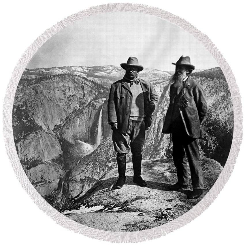 President Roosevelt Round Beach Towel featuring the photograph Teddy Roosevelt And John Muir - Glacier Point Yosemite Valley - 1903 by War Is Hell Store
