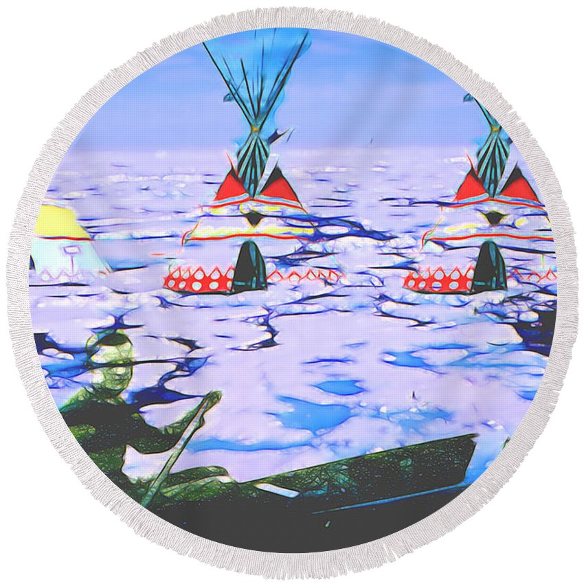 Round Beach Towel featuring the digital art Teepees On Ice by Cathy Anderson
