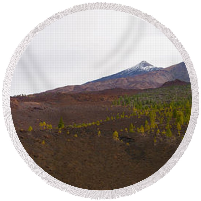 Landscape Round Beach Towel featuring the photograph Teide Nr 13 by Jouko Lehto