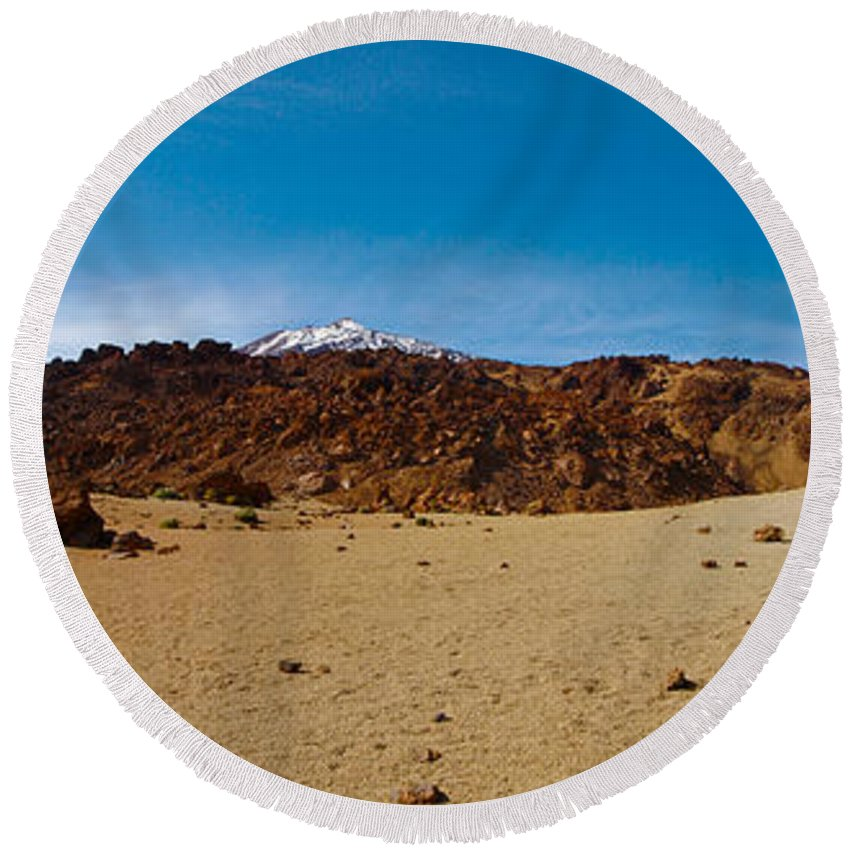 Landscape Round Beach Towel featuring the photograph Teide Nr 15 by Jouko Lehto