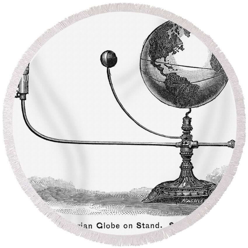 19th Century Round Beach Towel featuring the photograph Tellurian Globe by Granger