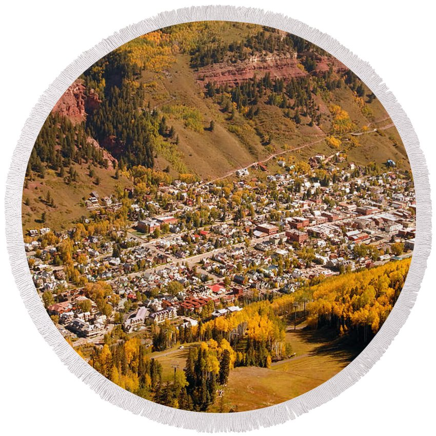Telluride Colorado Round Beach Towel featuring the photograph Telluride by David Lee Thompson