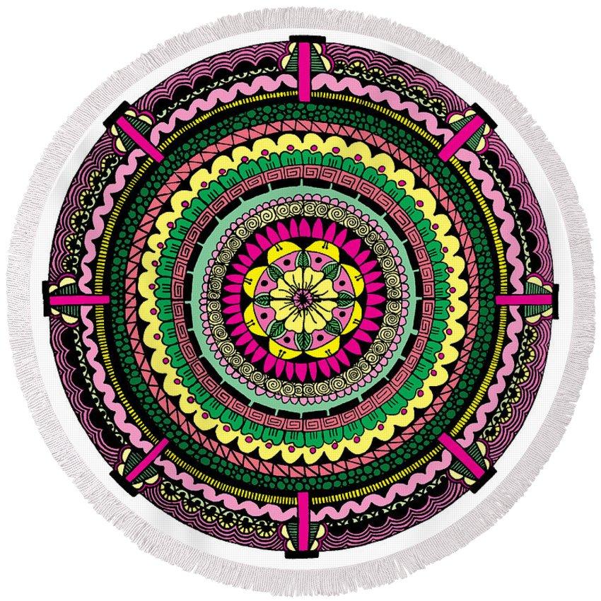 Mandala Round Beach Towel featuring the digital art Temblor by Elizabeth Davis