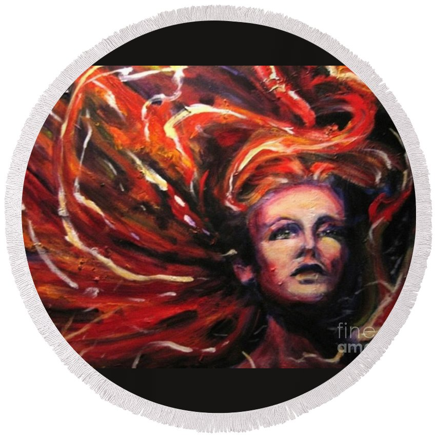 Bright Round Beach Towel featuring the painting Tempest by Jason Reinhardt