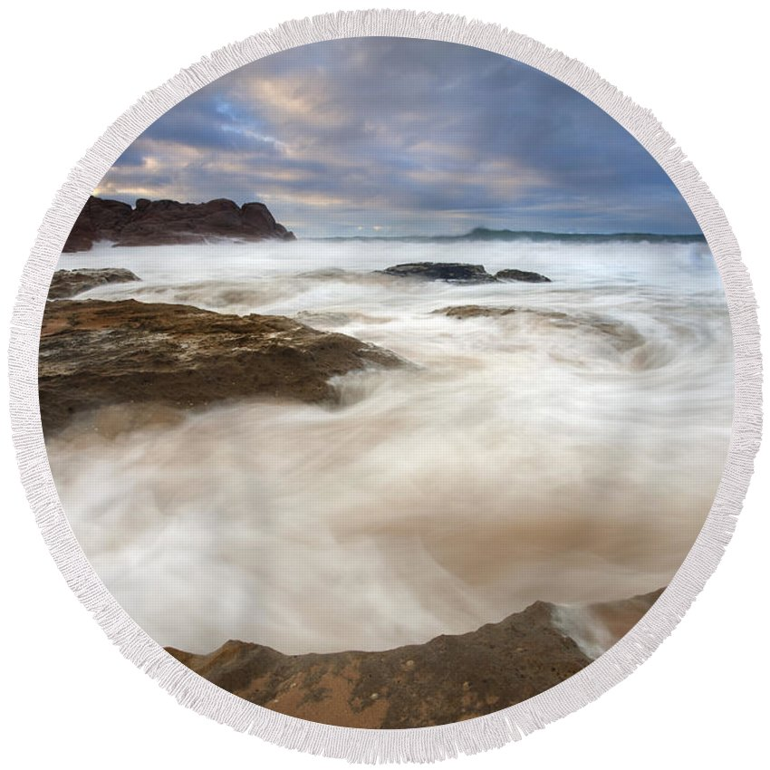 Bowl Round Beach Towel featuring the photograph Tempestuous Sea by Mike Dawson