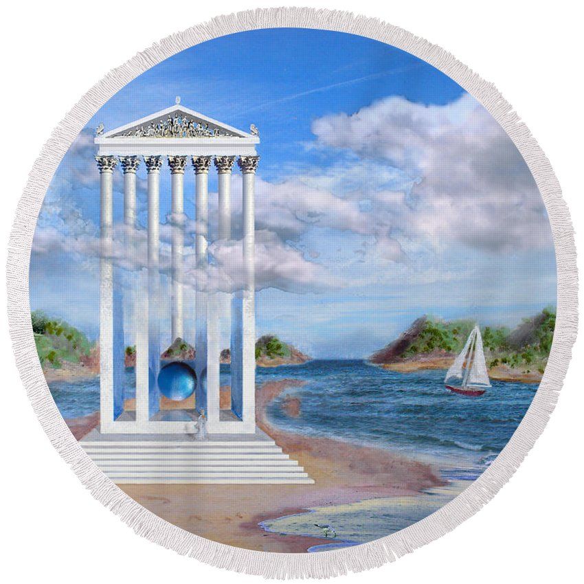 Landscape Round Beach Towel featuring the painting Temple For No One by Steve Karol