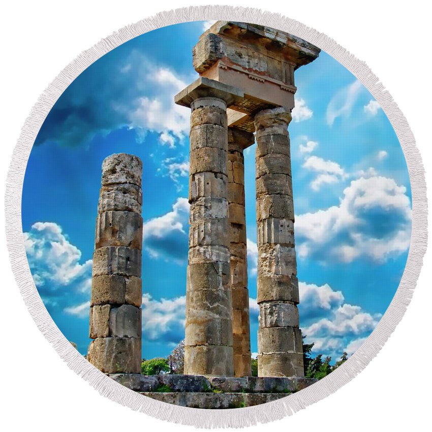 Stone Round Beach Towel featuring the photograph Temple Of Apollon by Anthony Dezenzio