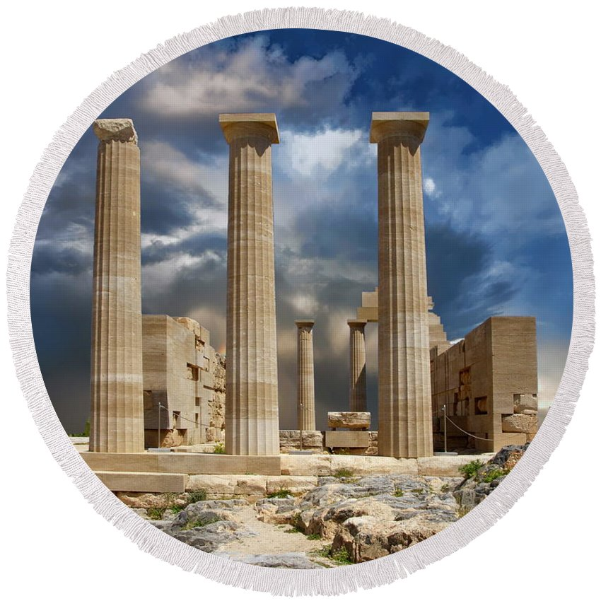 Greece Round Beach Towel featuring the photograph Temple Of Athena by Anthony Dezenzio