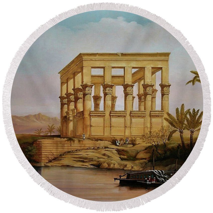 Ancient Round Beach Towel featuring the painting Temple Of Isis On The Nile River by Zohrab Kemkemian
