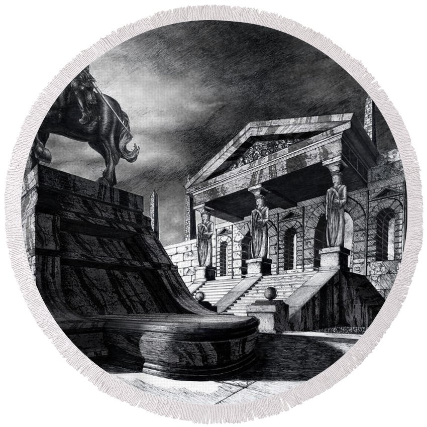 Greek Architecture Round Beach Towel featuring the drawing Temple Of Perseus by Curtiss Shaffer