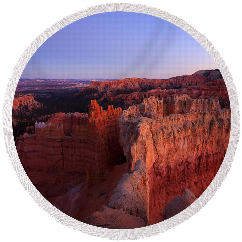 Hoodoo Round Beach Towel featuring the photograph Temple of the setting sun by Mike Dawson