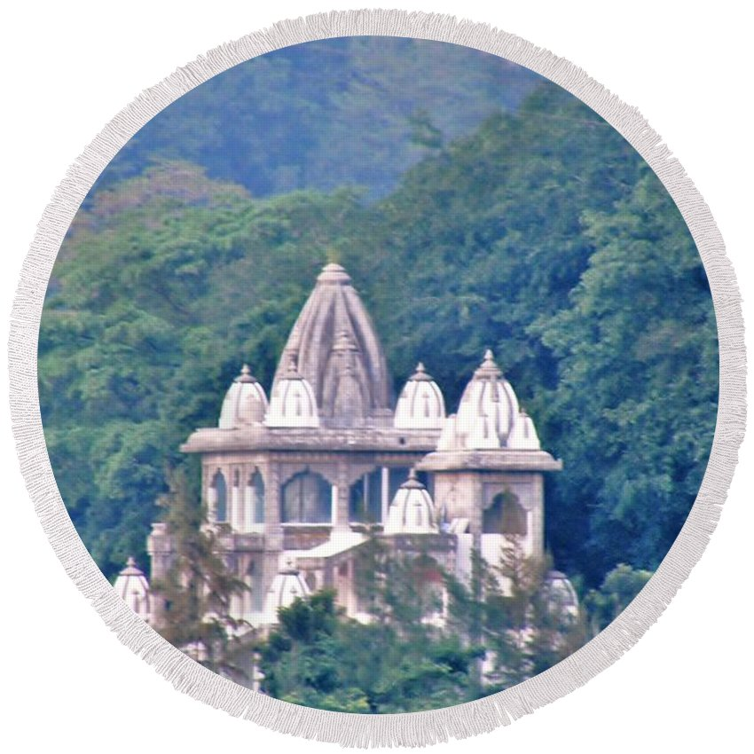 Temple Round Beach Towel featuring the photograph Temple In The Distance - Rishikesh India by Kim Bemis
