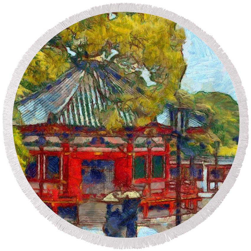 Narita (chiba Prefecture Round Beach Towel featuring the painting Temple by Sergey Lukashin