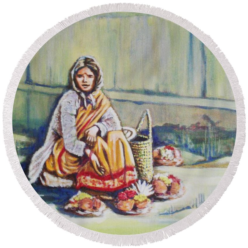 Usha Round Beach Towel featuring the painting Temple-side Vendor by Usha Shantharam