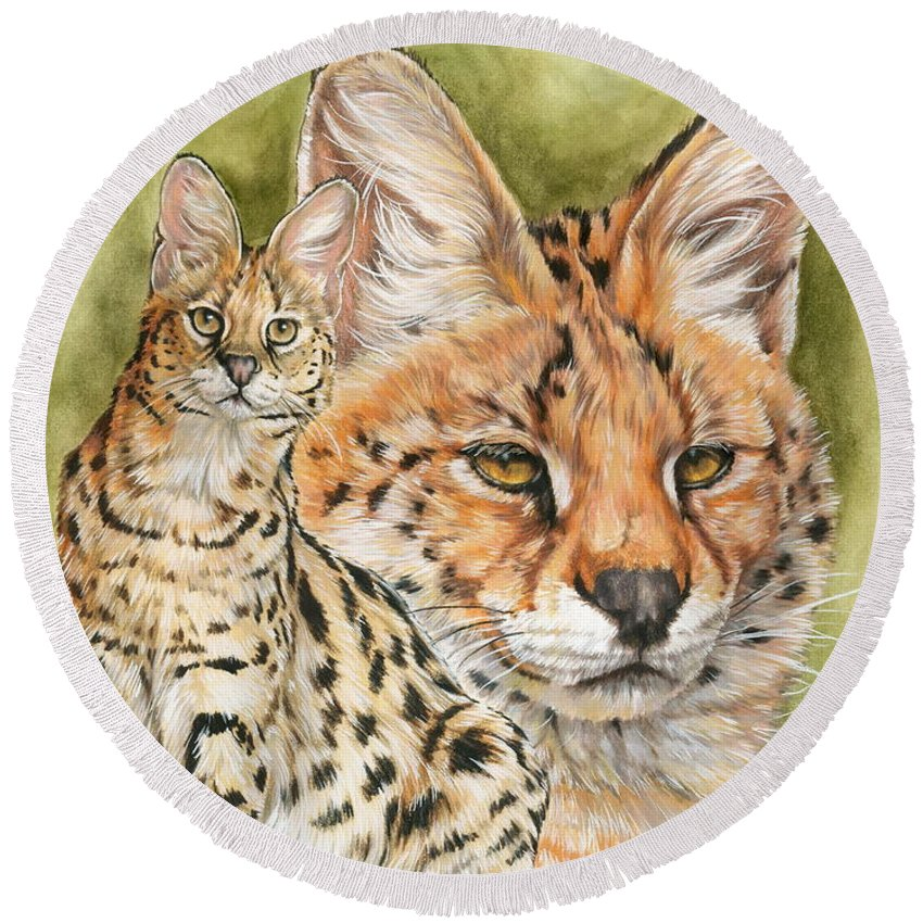 Serval Round Beach Towel featuring the mixed media Tempo by Barbara Keith