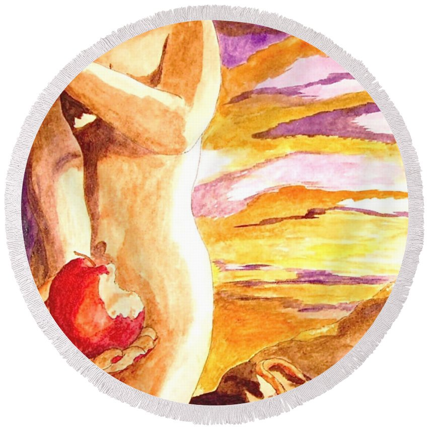Watercolor Round Beach Towel featuring the painting Temptation by Herschel Fall