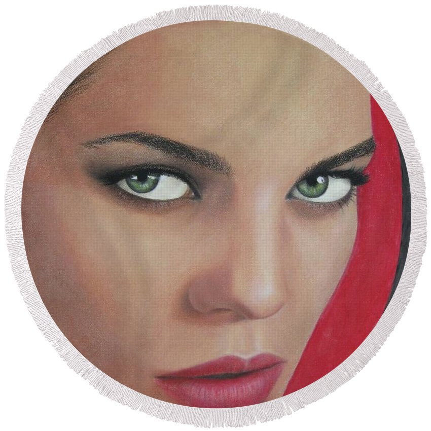 Woman Round Beach Towel featuring the painting Temptation by Lynet McDonald