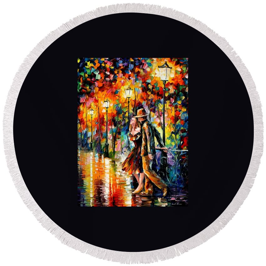 Scenery Round Beach Towel featuring the painting Tempter by Leonid Afremov