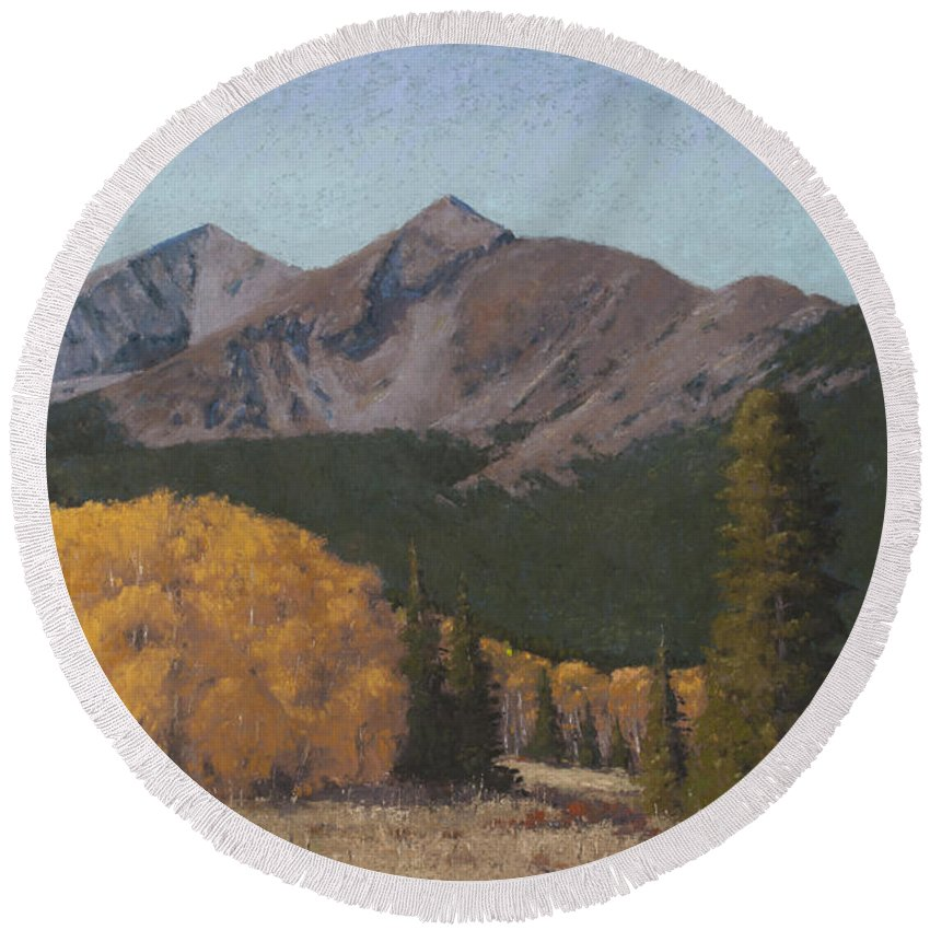 Round Beach Towel featuring the painting Ten Mile Autumn by Drew Gibson