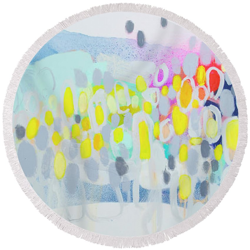 Abstract Round Beach Towel featuring the painting Ten O'clock Flight by Claire Desjardins