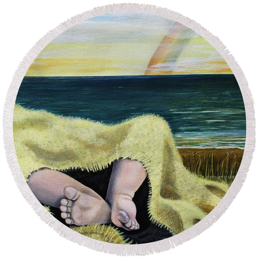 Baby Round Beach Towel featuring the painting Ten Precious Toes by Kris Crollard