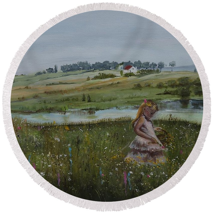 Impression Round Beach Towel featuring the painting Tender Blossom - Lmj by Ruth Kamenev