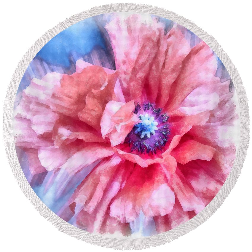 Poppy Round Beach Towel featuring the photograph Tenderness by Angelina Tamez