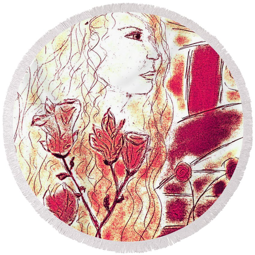 Woman Round Beach Towel featuring the painting Tenderness by Kate Hopson