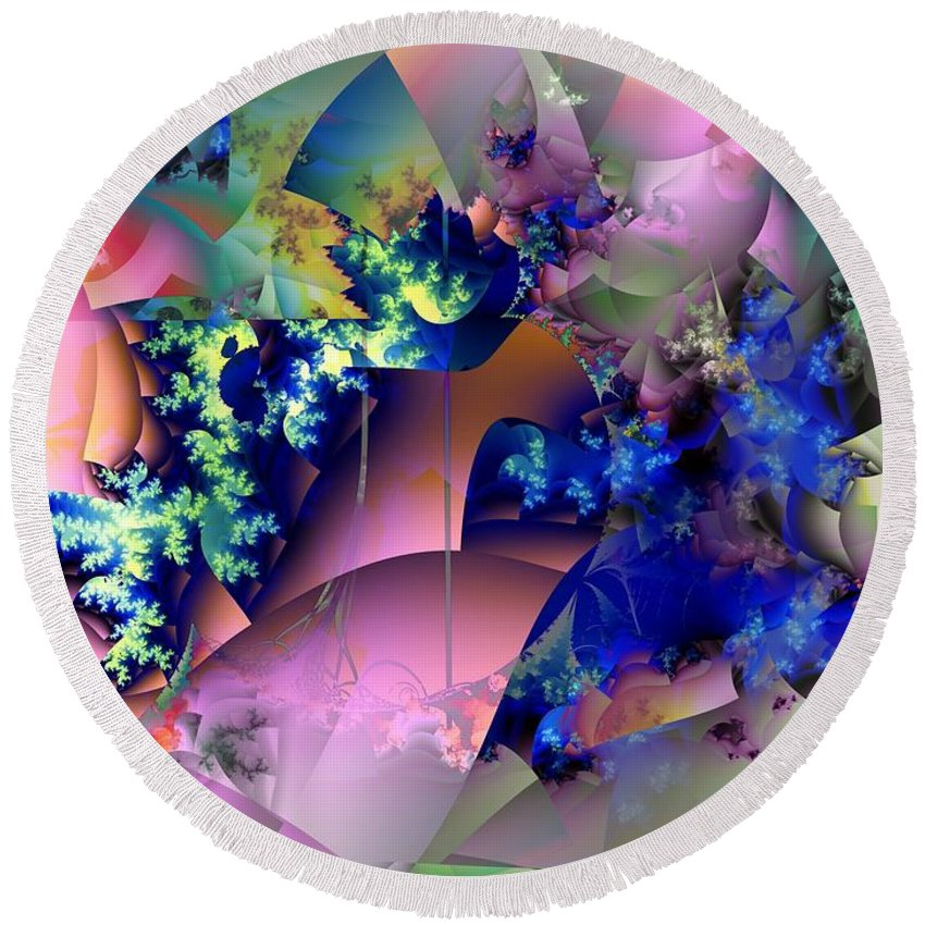 Flowers Round Beach Towel featuring the digital art Tending Toward Flowers by Ron Bissett