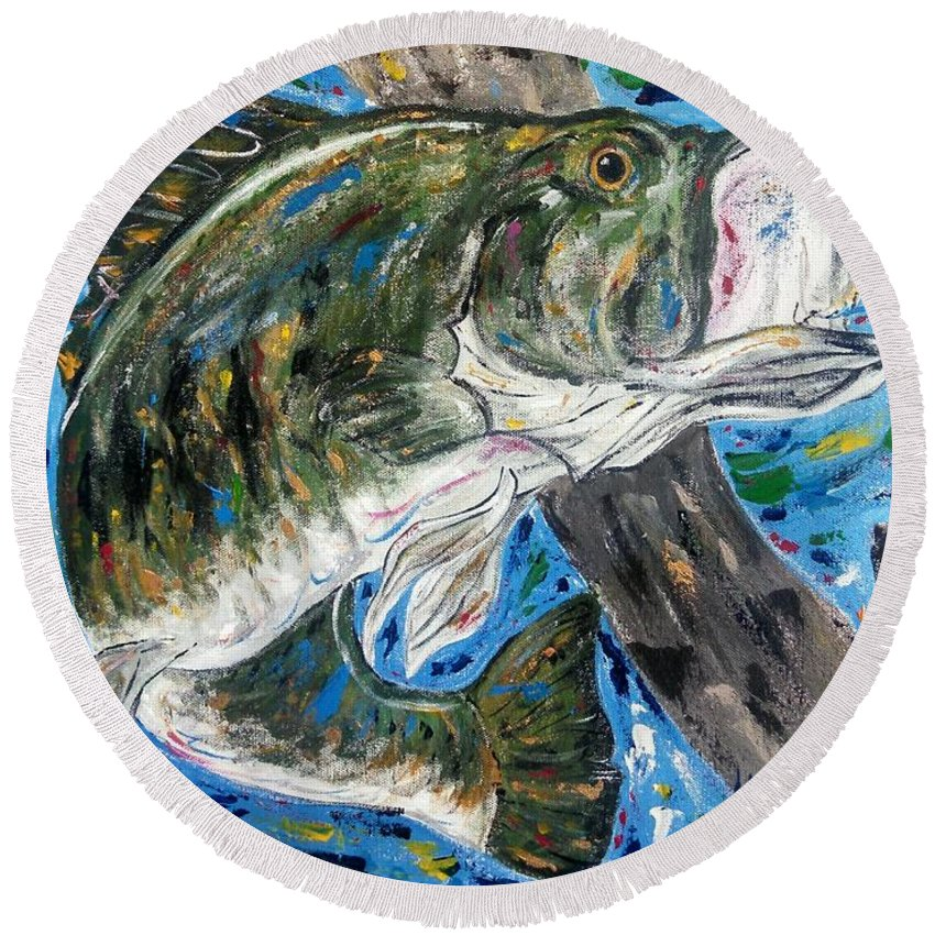 Tennessee River Round Beach Towel featuring the painting Tennessee River Largemouth Bass by Jessica Burgess