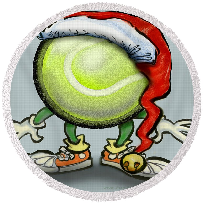 Tennis Round Beach Towel featuring the greeting card Tennis Christmas by Kevin Middleton