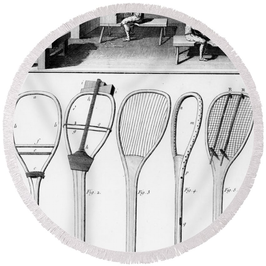 Tennis Round Beach Towel featuring the drawing Tennis Rackets by French School