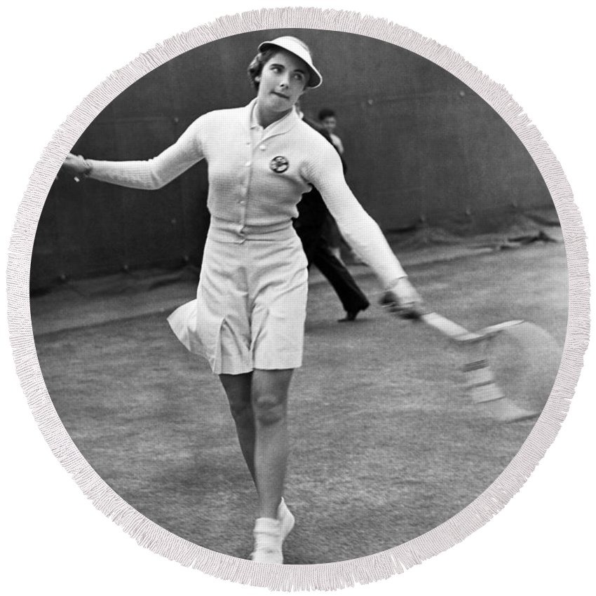 1 Person Round Beach Towel featuring the photograph Tennis Star Katherine Stammers by Underwood Archives