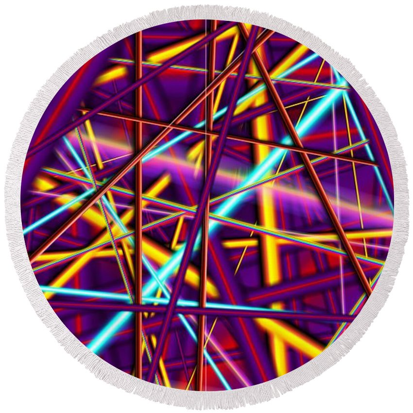 Rods Round Beach Towel featuring the digital art Tension Strings by Ron Bissett