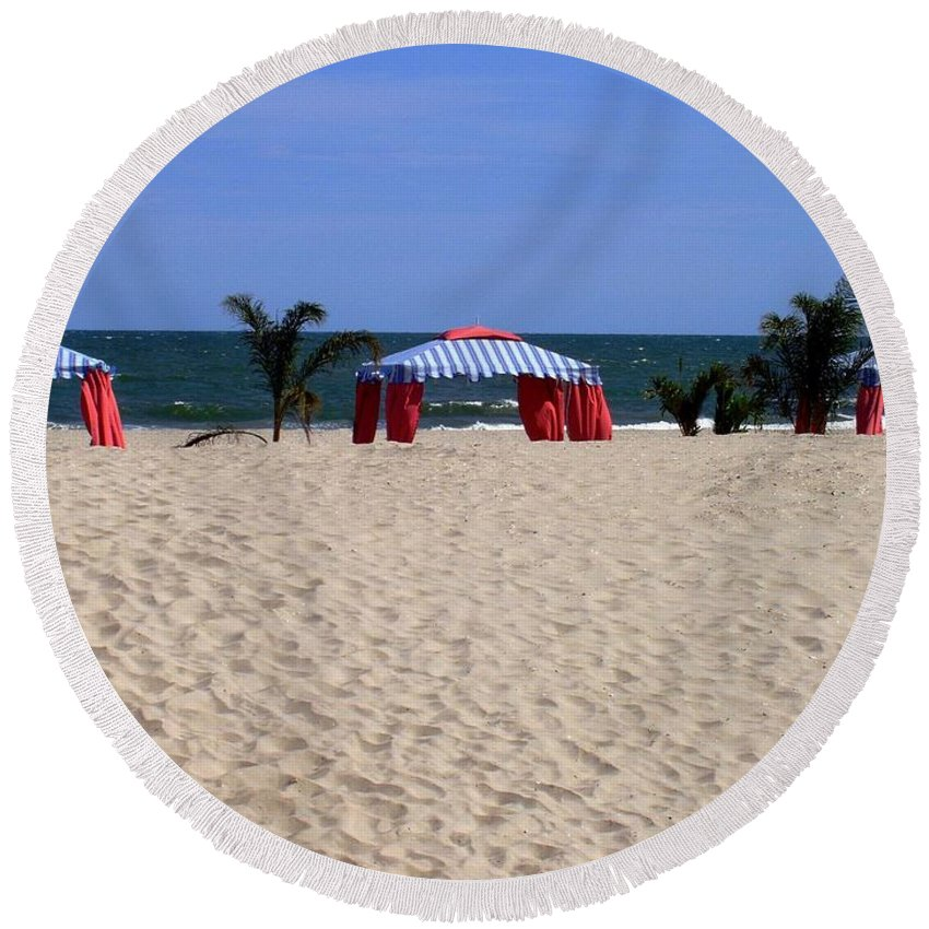 Beach Round Beach Towel featuring the photograph Tent Caravan by Deborah Crew-Johnson