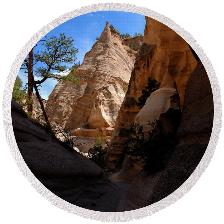 Tent Rocks Wilderness New Mexico Round Beach Towel featuring the photograph Tent Rocks Canyon by David Lee Thompson