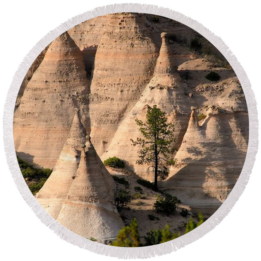 Tent Rocks Wilderness Round Beach Towel featuring the photograph Tent Rocks Wilderness by David Lee Thompson