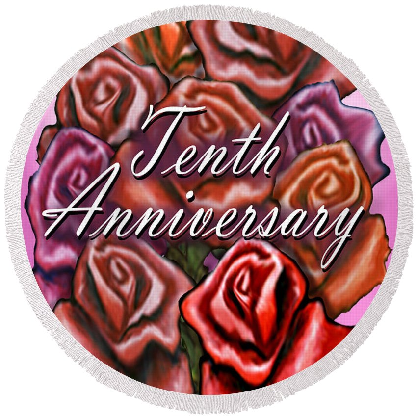 Tenth Round Beach Towel featuring the greeting card Tenth Anniversary by Kevin Middleton
