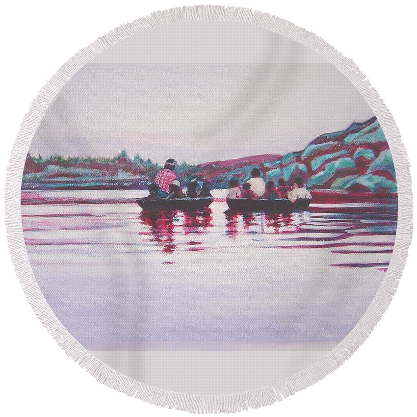 Teppa Round Beach Towel featuring the painting Teppa Ride by Usha Shantharam